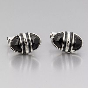 MONTBLANC CUFFLINKS SILVER COLOR OVAL BLACK ONYX